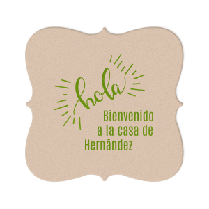 Our beautiful custom Eggshell Square Coaster with Shiny Kiwi / Lime Foil Color has a Hola graphic and is good for use in Words themed parties and will give your party the personalized touch every host desires.
