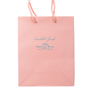 Featuring our Wave graphic in Teal foil, this party bag is ideal for your destination wedding dessert bar. Personalize with your names, date and beachy location for a breazy tropical touch.