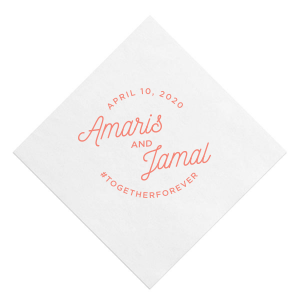 Our beautiful custom White Quick Ink Printed Cocktail Napkin with Matte Light Coral Ink Digital Print Colors can be personalized to match your party's exact theme and tempo.