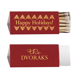 Our beautiful custom Natural Merlot Triangle Matchbox with Shiny 18 Kt Gold Foil Color and Shiny Leaf Foil Color has a Happy Holidays graphic and is good for use in Christmas and Holiday themed parties and are a must-have for your next event—whatever the celebration!