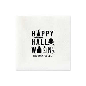 ForYourParty's personalized Lime Linen Like Cocktail Napkin with Matte Black Foil has a Witch's Hat graphic and is good for use in Halloween themed parties and will impress guests like no other. Make this party unforgettable.