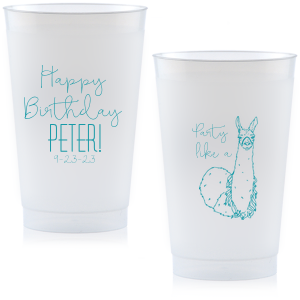 Custom Blue 12 oz Frost Flex Color Cup with Matte White Ink has a Party Llama graphic and is good for use in Animals, Kid Birthday and Birthday themed parties and can be customized to complement every last detail of your party.