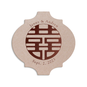 Custom White Round Coaster with Satin Lipstick Red Foil has a Circled Double Happiness graphic and is good for use in Wedding themed parties and can be personalized to match your party's exact theme and tempo.