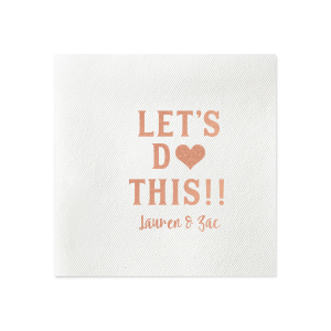 Personalized White Borderless Cocktail Napkin with Shiny Rose Gold Foil has a Heart Solid graphic and is good for use in Hearts, Wedding themed parties and will make your guests swoon. Personalize your party's theme today.