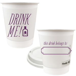 Custom 12 oz Paper Coffee Cups with Lid with Matte Eggplant Ink has a Ornate Frame graphic and Poison bottle accent and is good for use in Spooky and Halloween themed parties and will give your party the personalized touch every host desires.