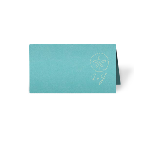 Featuring our Sand Dollar graphic and Tiffany Blue paper, these Place Cards are ideal for your destination wedding or beach themed tablescapes. Personalize with your initials for a breazy tropical touch.