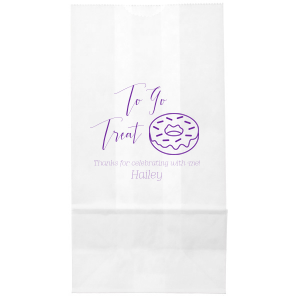 Say thanks for coming with a delicious treat in your very own personalized bags. Stick with this Amethyst foil or choose another color to match your theme. Guests will love our Donut clipart and hand lettered calligraphy font on the bag almost as much as what's inside! FItting for birthdays, mitzvahs, showers and more.
