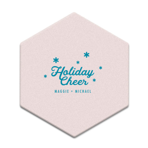 ForYourParty's chic Silver with Black back Hexagon Coaster with Satin Teal / Peacock Foil Color will look fabulous with your unique touch. Your guests will agree!