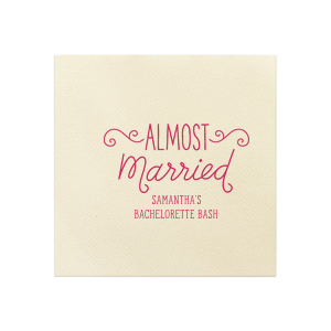 ForYourParty's elegant Ivory Linen Like Petite Napkin with Matte Fuchsia Foil has a Almost Married 3 graphic and is good for use in Words, Bridal Shower themed parties and couldn't be more perfect. It's time to show off your impeccable taste.