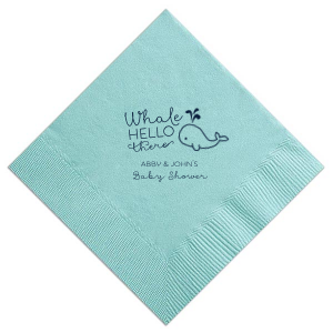 ForYourParty's elegant Tiffany Blue Cocktail Napkin with Matte Navy Foil has a Whale graphic and is good for use in Animals, Birthday, Kid Birthday and Baby Shower themed parties and will give your party the personalized touch every host desires.
