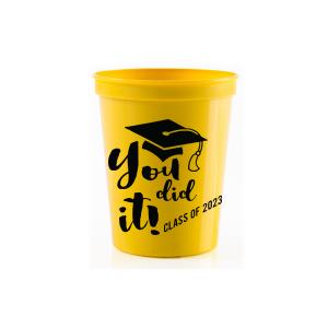 25 qty Congrats Graduation plastic cups Grad party stadium cups graduation party cups congratulation cups confetti plastic party cups