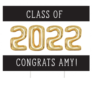 Gold Balloon Grad Yard Sign