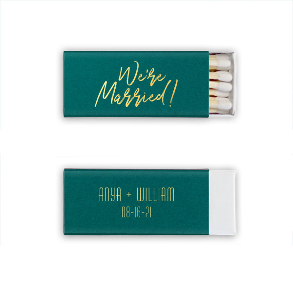 Natural Leaf mini matchbox with we're married script design stamped in shiny gold foil