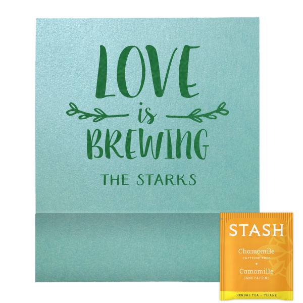 "50 Count / 2.75 x 2.375"" / Love Is Brewing Leaf Branch Tea Favor"