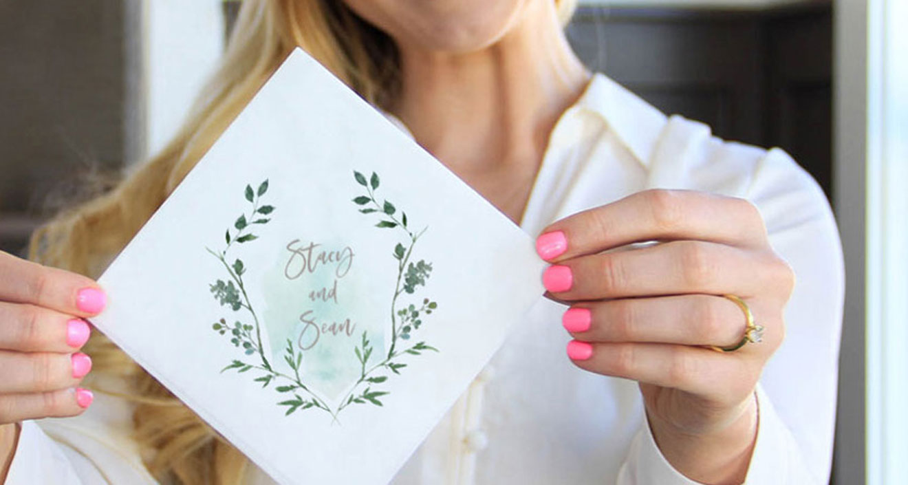 Full Color napkin with foliage frame and personalized with names