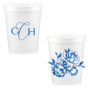 Rose Romantic Script Monogram Stadium Cup