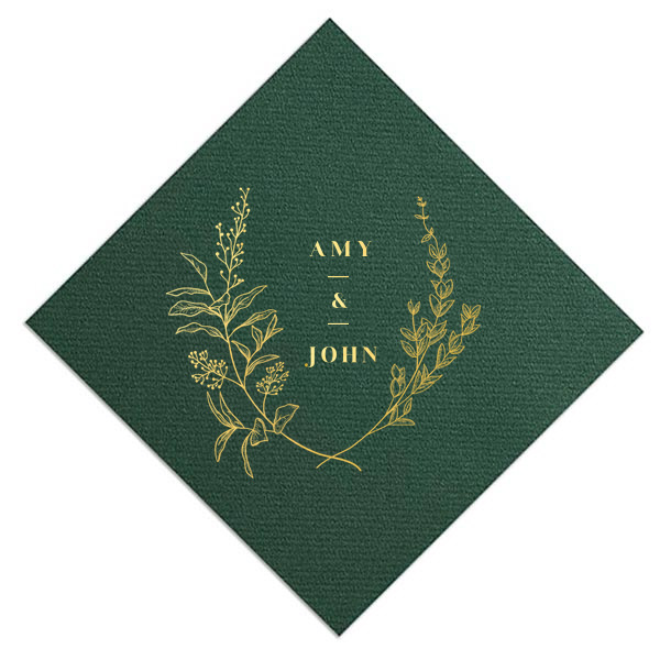 Hunter green linen like cocktail napkin with floral names design in shiny gold foil