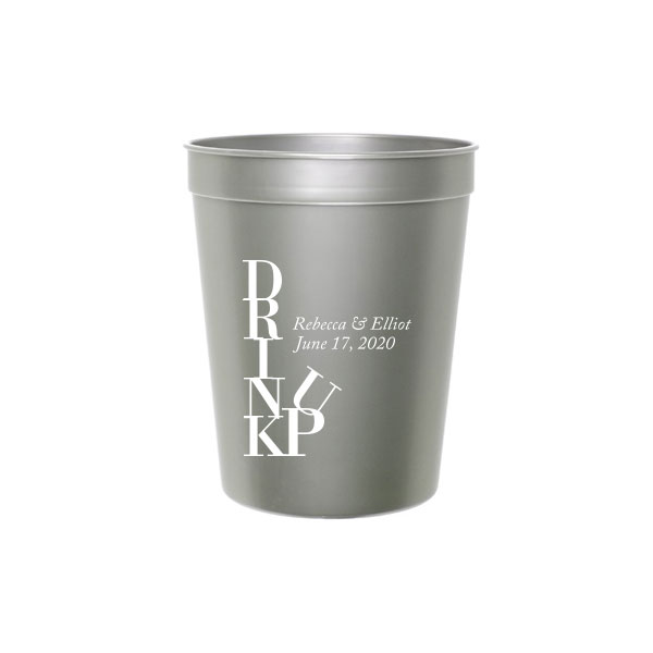 Silver Stadium Cup with White ink