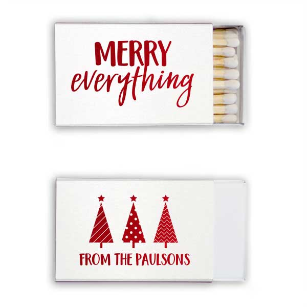 White classic Matchboxes with merry everything design in shiny lipstick red foil