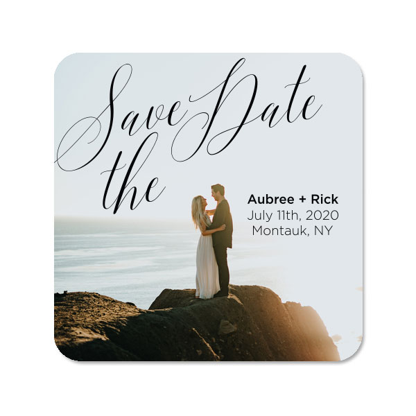 Photo Full Color Square Coasters with SAve the date design