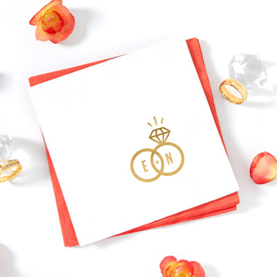 Diamond Ring Initials Napkin
