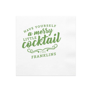 Merry Little Cocktail Ink Printed Napkin
