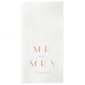 Champagne Bubbly Mr and Mrs Napkin
