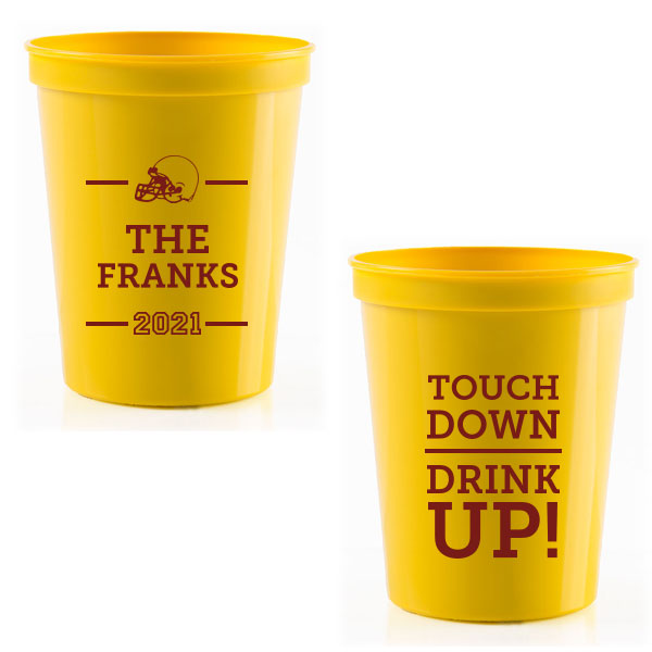Yellow 16 oz stadium cup with touchdown family design printed with matte merlot ink