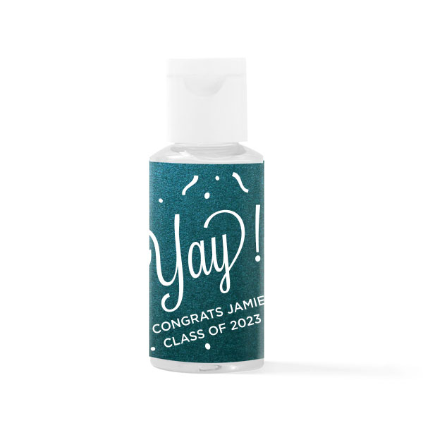 2 oz hand sanitizer bottle with yay confetti design on star dream peacock paper and white foil stamped