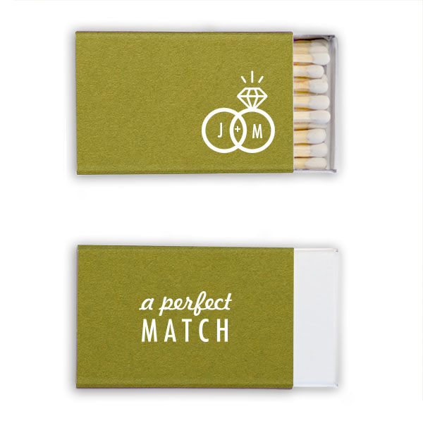 Poptone dark olive classic matchboxes with a perfect ring match design in white foil