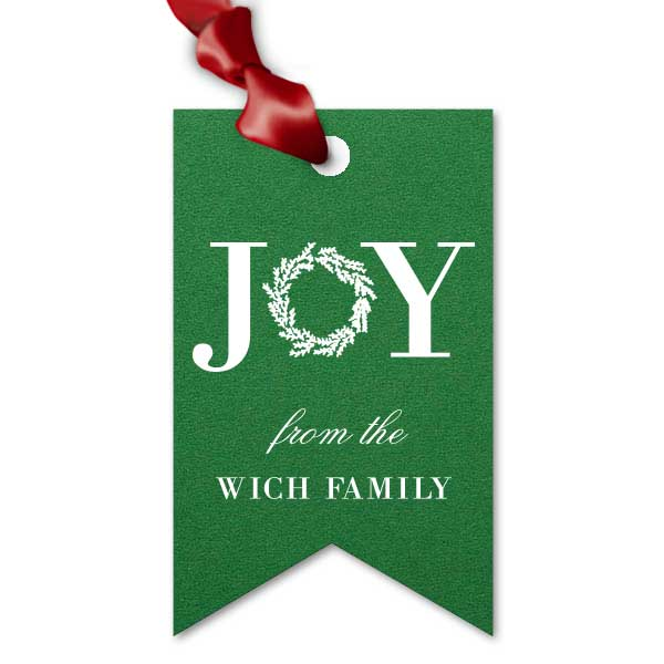 Green Double Point gift tag with white foil