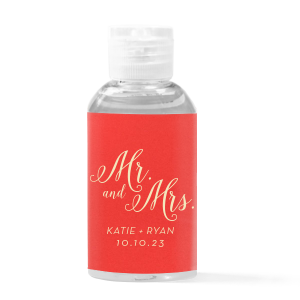 Mr And Mrs Calligraphy Hand Sanitizer Favor