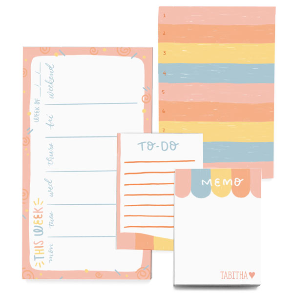 Pastel Stripes organizer notepad gift set of 4 sizes