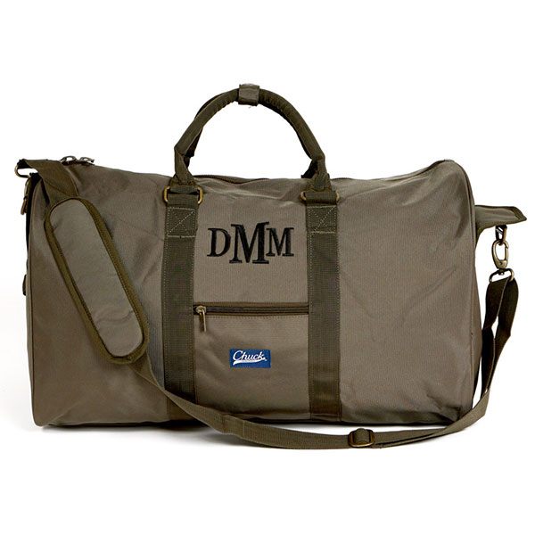 Embroidered monogram green duffel bag