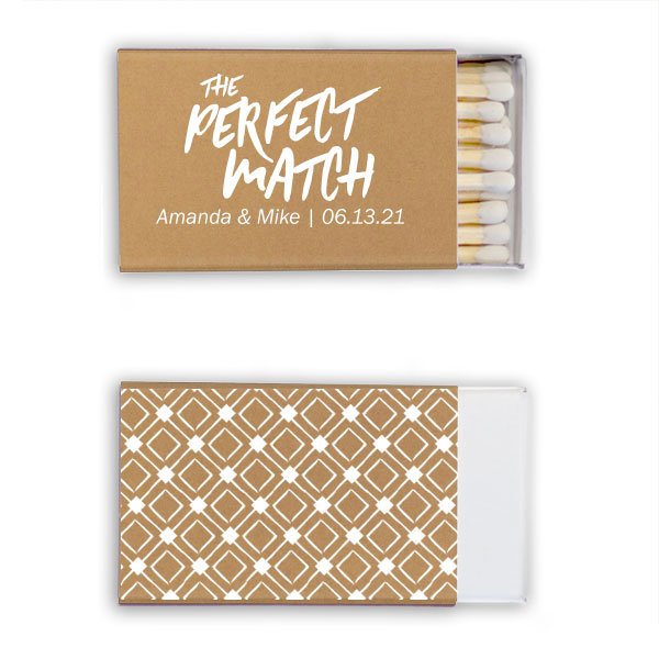 Gold classic matchboxes with the perfect match design in white foil