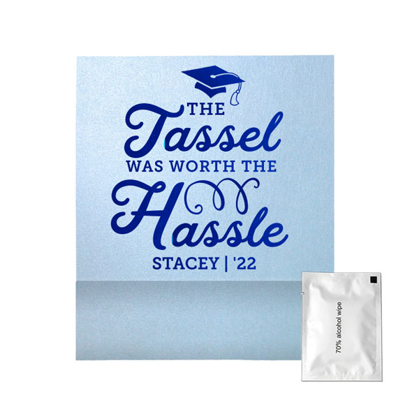 Tassel hassle graduation hand sanitizer wipe favor in star dream sky blue with shiny royal blue foil stamped design