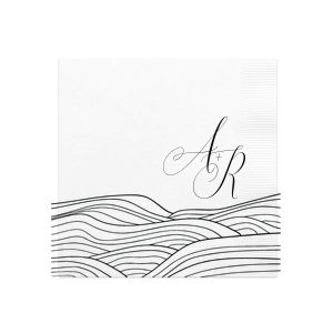 Romantic Waves Initials Napkin