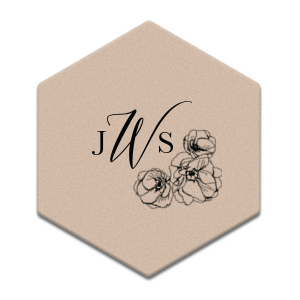 Elegant Monogram Flower Accent Coaster