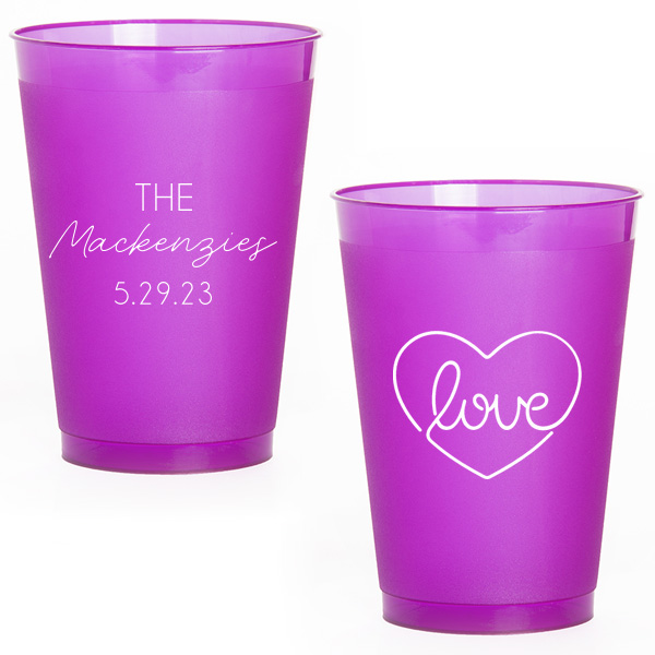 Purple frost flex cups with script names and love design in white ink