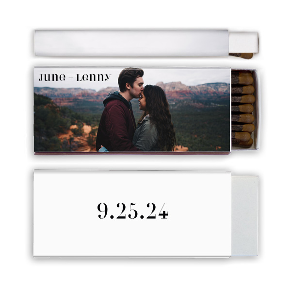 Classic matchbox with photo of couple and event date