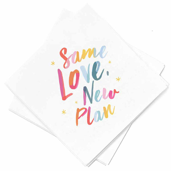 same love, new plan full color cocktail napkins