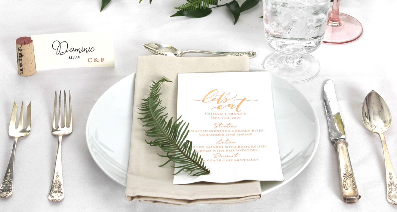 Wedding Tablescape with White 5X7 menu with shiny gold foil lets eat design