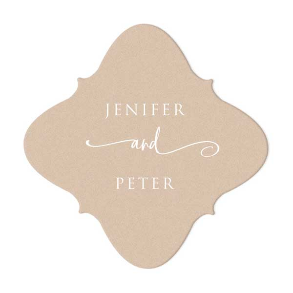 Nouveau Coaster in Kraft with White foil Stamped design