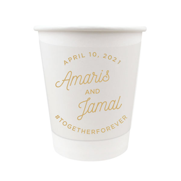 12 oz Paper cup with Modern Script Design in gold ink