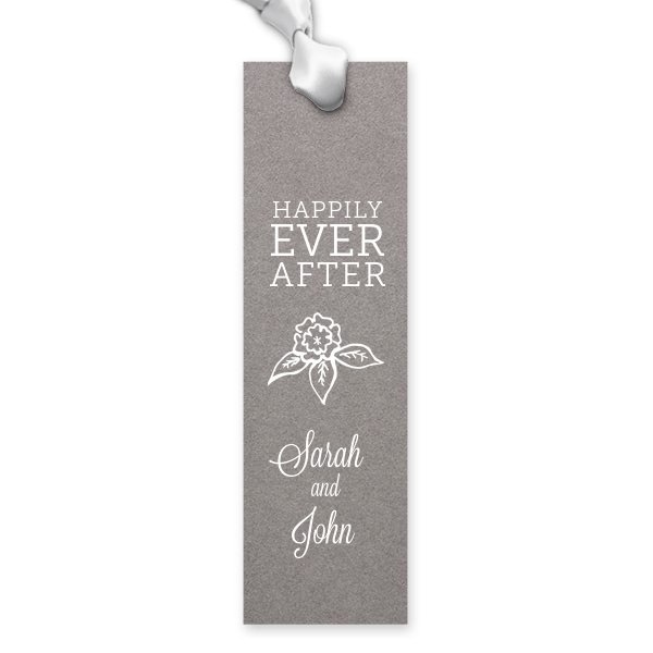 "Custom Rectangle Bookmark / 25 Count / 1.75 x 6"" / Happily Ever After Flowers Favor"