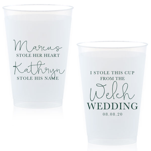 Frost flex cup with stolen from design printed in matte spruce ink