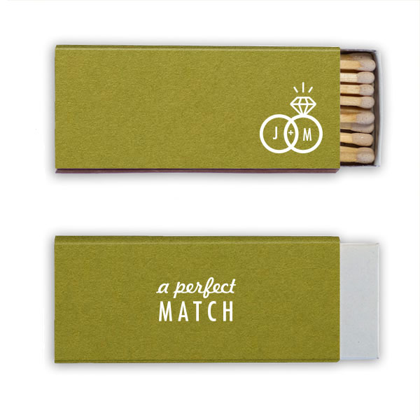 Poptone dark olive candle matchbox with a perfect ring stamped in white foil