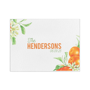 Orange Blossom Family Name Glass Cutting Board