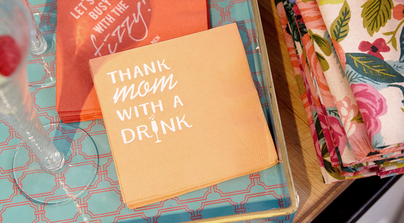 thank mom with a drink cocktail napkins