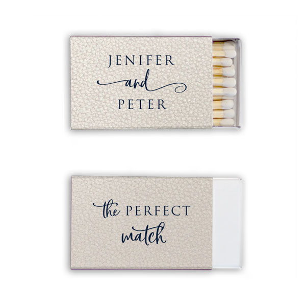 Leather like white matchbox with navy foil stacked names design